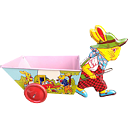 Very nice J. Chain toy Litho tin rabbit  pulling cart, vintage toy