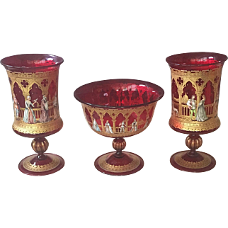 Circa: 1890-1930's Royal Venetian Compote & two Urns