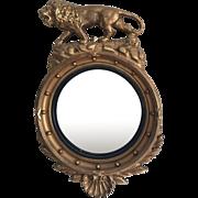 Late Federal 1820's-1830's Gilt Convex Lion Mirror