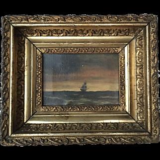 19th Century or older gilt frame painted boat scene