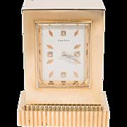 Art Deco Gold and Diamond Cartier Desk Clock
