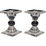 Vintage Pair of Lalique Frosted Glass Candlesticks