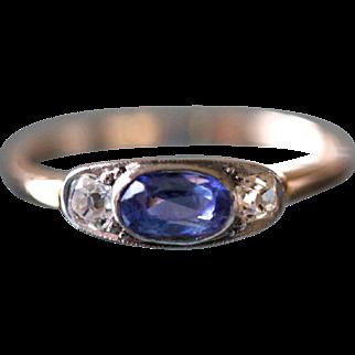 Edwardian Blue Sapphire Ring (Ceylon Sapphire, Untreated, Gübelin Certificate)