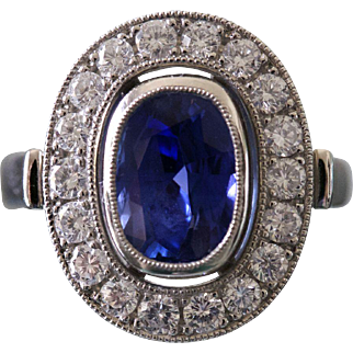 6.19 Carat Blue Sapphire Platinum Ring (Burma – No Heat – Gübelin Certificate)
