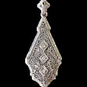 1930s Art Deco 14K White Gold Pendant with Diamonds