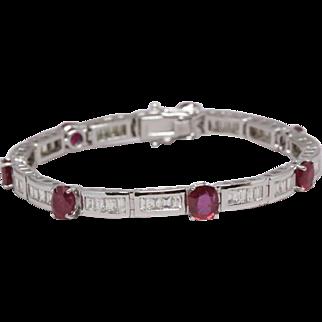 Burma Ruby Bracelet, 7.01 cttw, unheated + certified