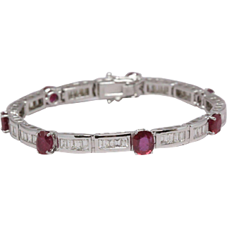 Burma Ruby Bracelet, 7.01 cttw, unheated + certified