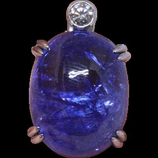 Huge 19.99 carat Tanzanite and 18K white gold pendant (Gübelin certificate)