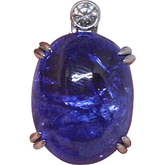 Huge 19.99 carat Tanzanite and 18K white gold pendant (Gübelin certificate)
