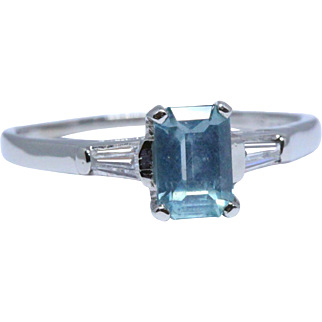 Mid-century platinum ring with 1.18 ct unheated Montana sapphire + diamonds (Gübelin certificate)
