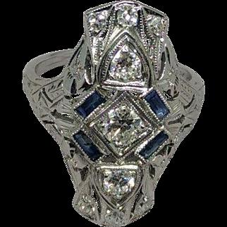 Authentic Art Deco Diamond and Sapphire Ring 1930
