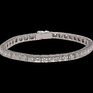 Christmas Special: 5.00 cttw Vintage Diamond Line Bracelet, 18K White Gold