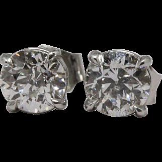 1.0 cttw Diamond Platinum Stud Earrings (GIA report)