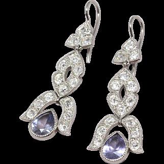 No Heat Sapphire and Antique Diamond Platinum Earrings (Gübelin report)