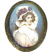 Lady with a hat, miniature 19th century signed. Ross.