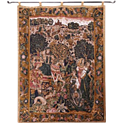 Vintage tapestry with medieval theme