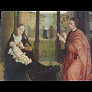 Old painting by Rogie van der Weyden - Evangelist Lukas, drawing Madonna.