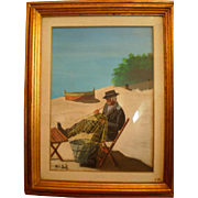 Fisherman, oil painting by Walt Scott (1894 - 1970), American (Disney Studios, Little People)