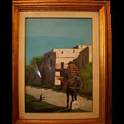 A man on a donkey, an oil painting from Walt Scott (1894 - 1970), American (Disney Studios, Little People)