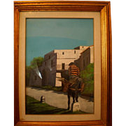 A man on a donkey, an oil painting from Walt Scott (1894 - 1970), American (Disney Studios, Little People)
