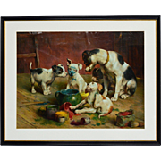 Color lithography around 1890 - dog family