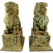 Large Pairs of wooden statues Foo dog, 19th century