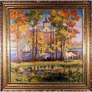 Landscape with horse, Ukrainian painter.