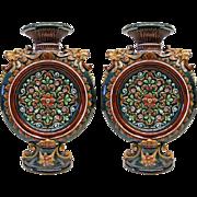 Pair of majolica vases, 19 centrury