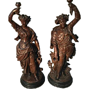 French Large pair statues - man and woman with wine.