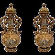 Pair Vases - Majolikafabrik W. Schiller, 19th Century, Austro-Hungarian Empire