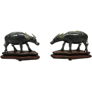 Water buffalo paired statues, jade, 19th century