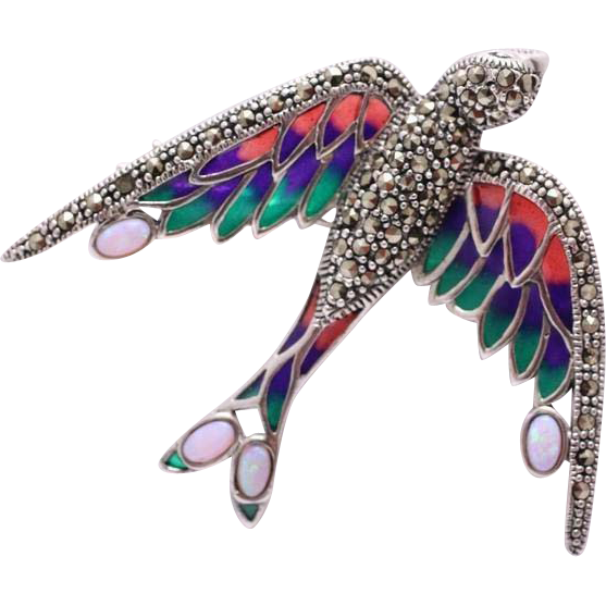 Silver brooch with opals, marcasites, enamels - Swallow.