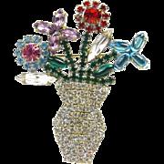 Art deco brooch - flowers in a vase.