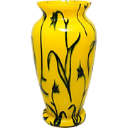 ART - DECO vase, colored Tango glass with floral decor