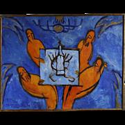Four at the table - Vaisberg Matvey, Ukraine, Kiev painter of Jewish origin 1958