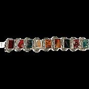 Art deco massive bracelet with agate, 835 silver.