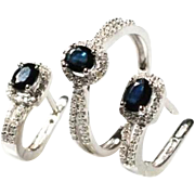 Vintage set of ring and earrings, diamonds, sapphires, 14K gold.