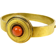 Art deco bracelet 14K yellow gold, coral.