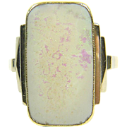 Art deco ring with opal, 14K gold