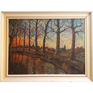 River with trees - Pointillism