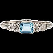 Art deco bracelet - platinum, diamonds, aquamarine.