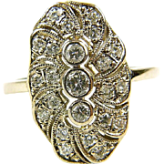 Filigree ring with diamonds, 14K gold.