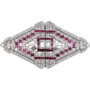 Luxury Platinum Art deco brooch with ruby and diamonds - CARTIER, London