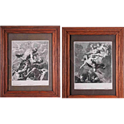 Pair lithography in oak frames - Simon Voüeta, France, 1651