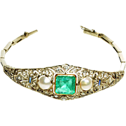 Luxury bracelet with emerald, sapphire, pearls and diamonds, 14K gold