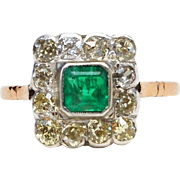 Diamond ring with emerald, 1920 Europe