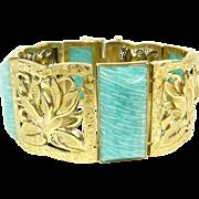 Art deco gold bracelet with amazonite.
