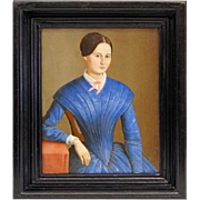 Portrait of a lady in blue - Biedermeier, Germany, 1851