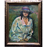 Lady with a hat - Russian painter Pavel Hromnitzkij - studied with Henry Matisse