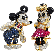 Mickey and Minnie a couple brooch, diamonds, sappihe, rubies, 18K gold.